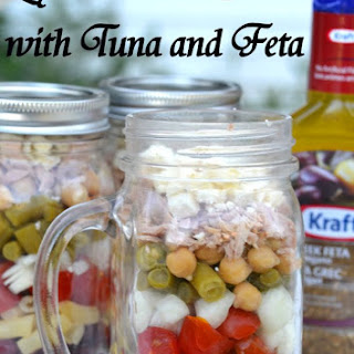 Layered Bean Salad with Tuna and Feta.