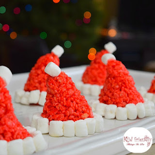 Santa Hat Rice Krispies Treats for a Fun and Simple Christmas Treat