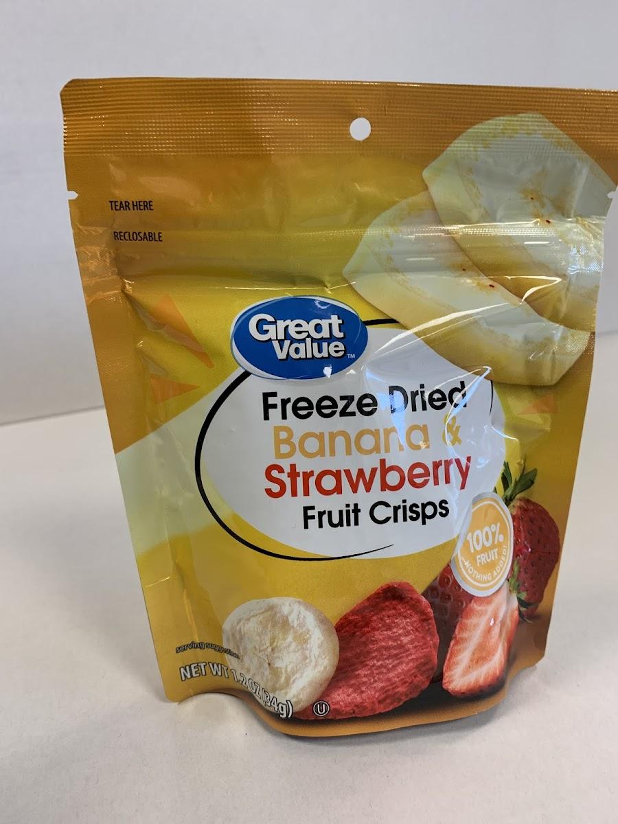 Freeze Dried Banana And Strawberry Fruit Crisps