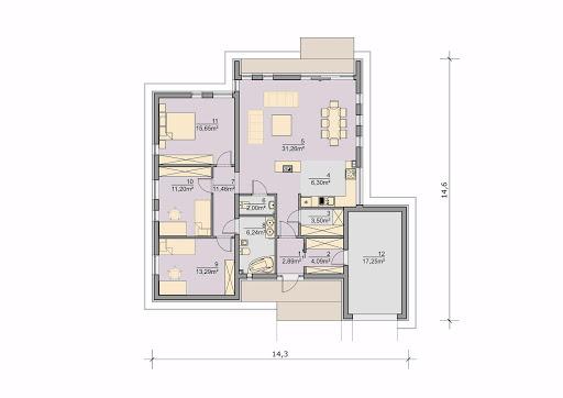 House 02 - Rzut parteru - wersja z garażem