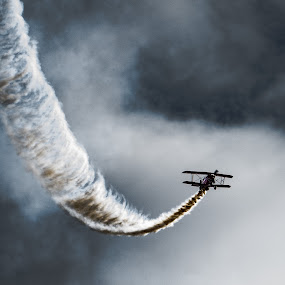 Smoke on by Andy Smith - Uncategorized All Uncategorized ( clouds, flight, sky, plane, dramatic, smoke,  )