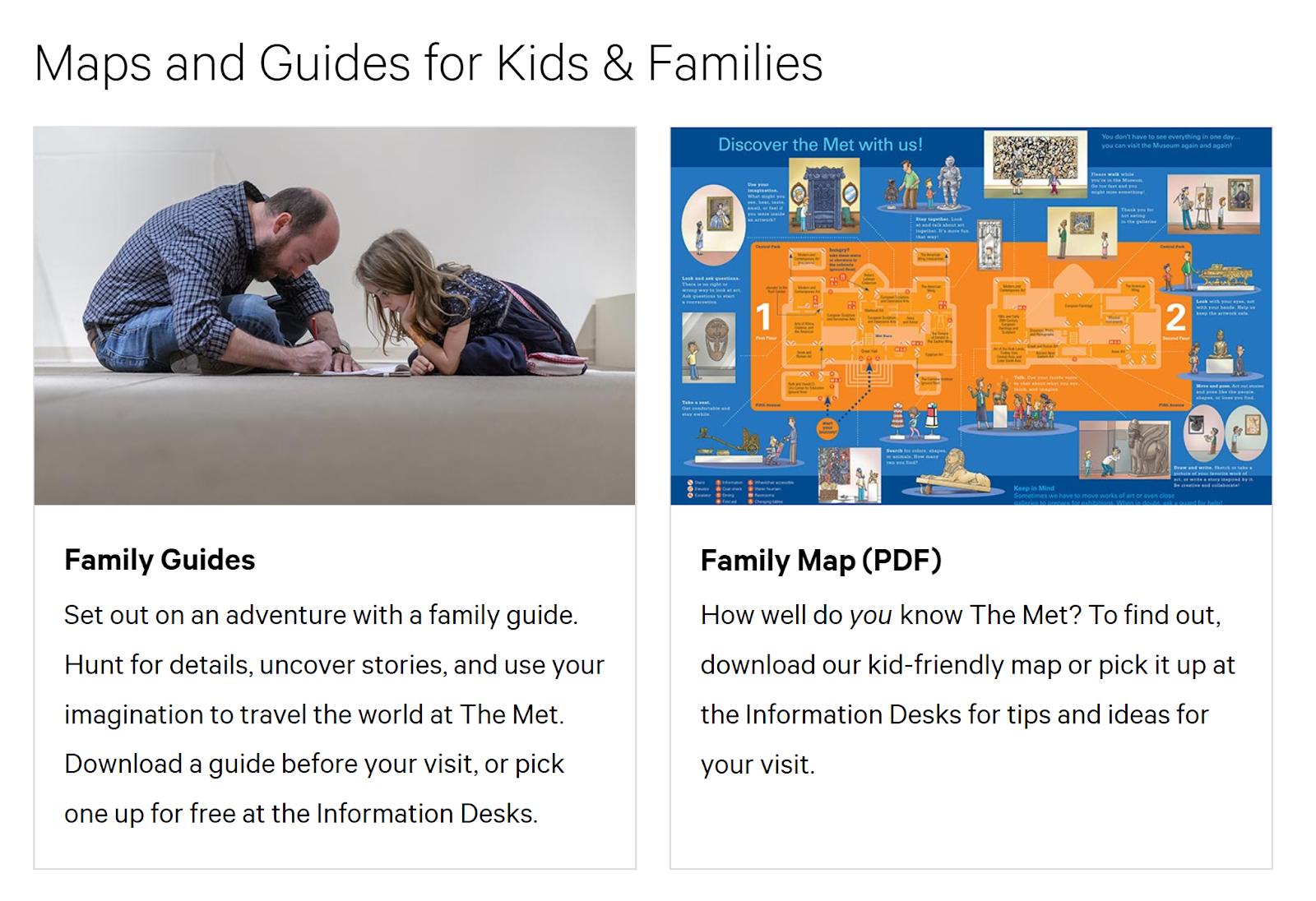 capture d'écran du site du musée MET montrant les cartes et les plans PDF de la section famille