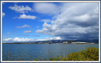 Photo: Looking northeast from Cesar Chavez Park; storm clouds approaching.
