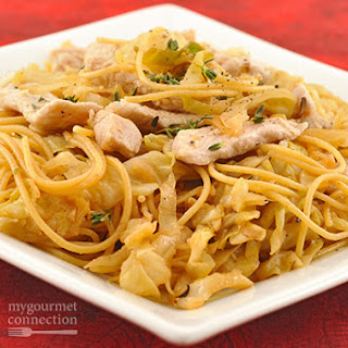 Spaghetti Tossed with Pork and Lemon-Garlic Cabbage.