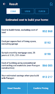 Custom Home Cost Calculator Screenshot