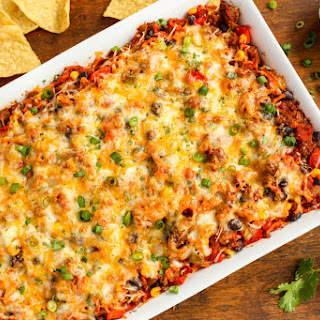 Cheesy Beef and Sweet Potato Taco Casserole.