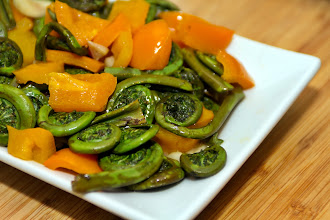 Photo: It's Friday so of course, my first post for today will be about food. :-)  Hubby roasted some fiddlehead ferns and sweet peppers with butter and garlic on the barbecue for last night's supper. It was really good and went well with roasted new potatoes and grilled steak.  +FoodFriday curated by +Natty Netsuwan +Nicholas Ong +D. DeMonteverde  +ColorsOnFriday curated by +Christina Lihani +E.E. Giorgi +Gilmar Smith +Erin Henderson  +All Things Green curated by +Cicely Robin Laing  +Tea Club ( Tea Coffee Chocolate Food Club ) curated by +Andrea Martinez +Gemma Costa +Elizabeth Edwards +Cynthia Chia +Michelle Robinson +Mike Sh
