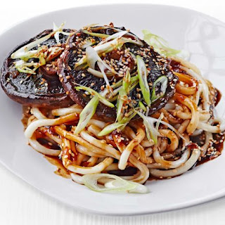 Saucy Miso Mushrooms With Udon Noodles.