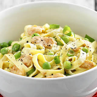 Salmon, Pea and Cream Fettuccine.