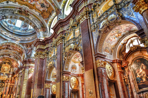 Baroque-church-interior-Melk-Austria - Inside the Baroque style Melk Abbey in Austria.