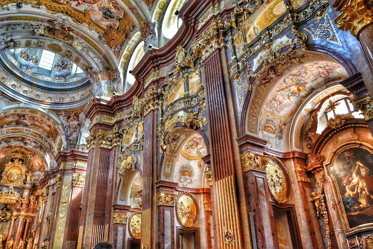 Inside the Baroque style Melk Abbey in Austria.