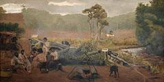 """Photo: WEINGARTNER, Pedro """"Gaúchos chimarreando"""" - 1911 óleo sobre tela  -  101,0 x 200,0 cm PAÇO 2º pavimento (junto à copa)"""