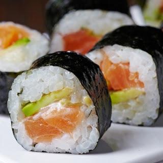 Salmon And Avocado Sushi.