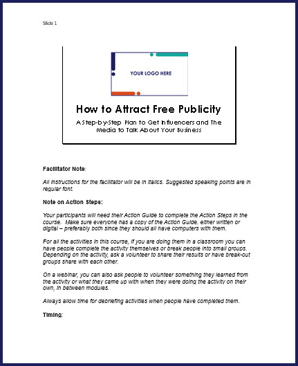 How to Attract Free Publicity - Speaker Notes