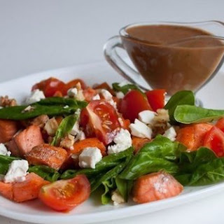 Salad With Spinach, Salmon And Feta Cheese