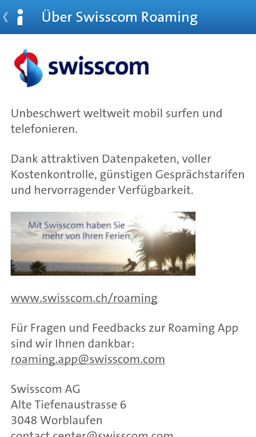 Swisscom Roaming Guide – Screenshot