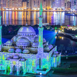 Lights Galore by Ansari Joshi - Buildings & Architecture Places of Worship ( lightfestival, beautiful, landscape photography, waterscape, light painting, cityscape, sharjah, long exposure, slf, colors )