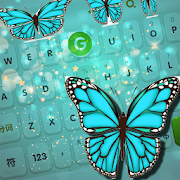 Turquoise Diamond Butterfly Keyboard Theme