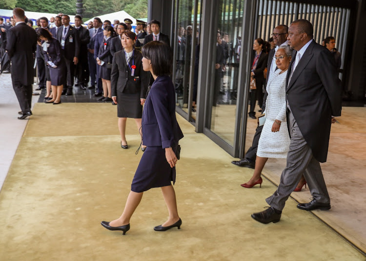President Uhuru Kenyatta and First Lady Margaret Kenyatta during the enthronement Ceremony of His Majesty Emperor Naruhito of Japan, at the Imperial Palace in Tokyo, Japan. Also present is Kenya's Ambassador to Japan H.E. Solomon Maina. PSCU
