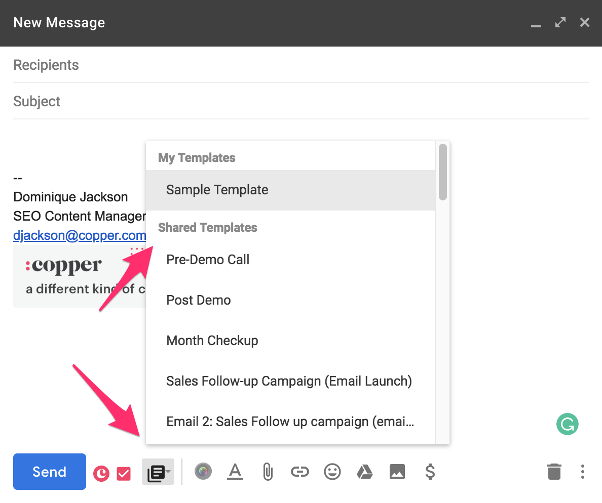 auto-populate emails in copper crm