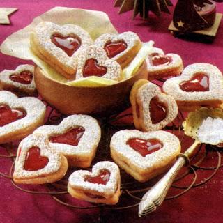 Ingredients German Christmas Cookies Linzer Hearts.