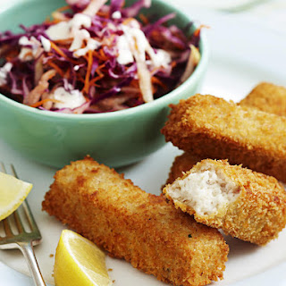 Crispy Fish Sticks with Apple Coleslaw.