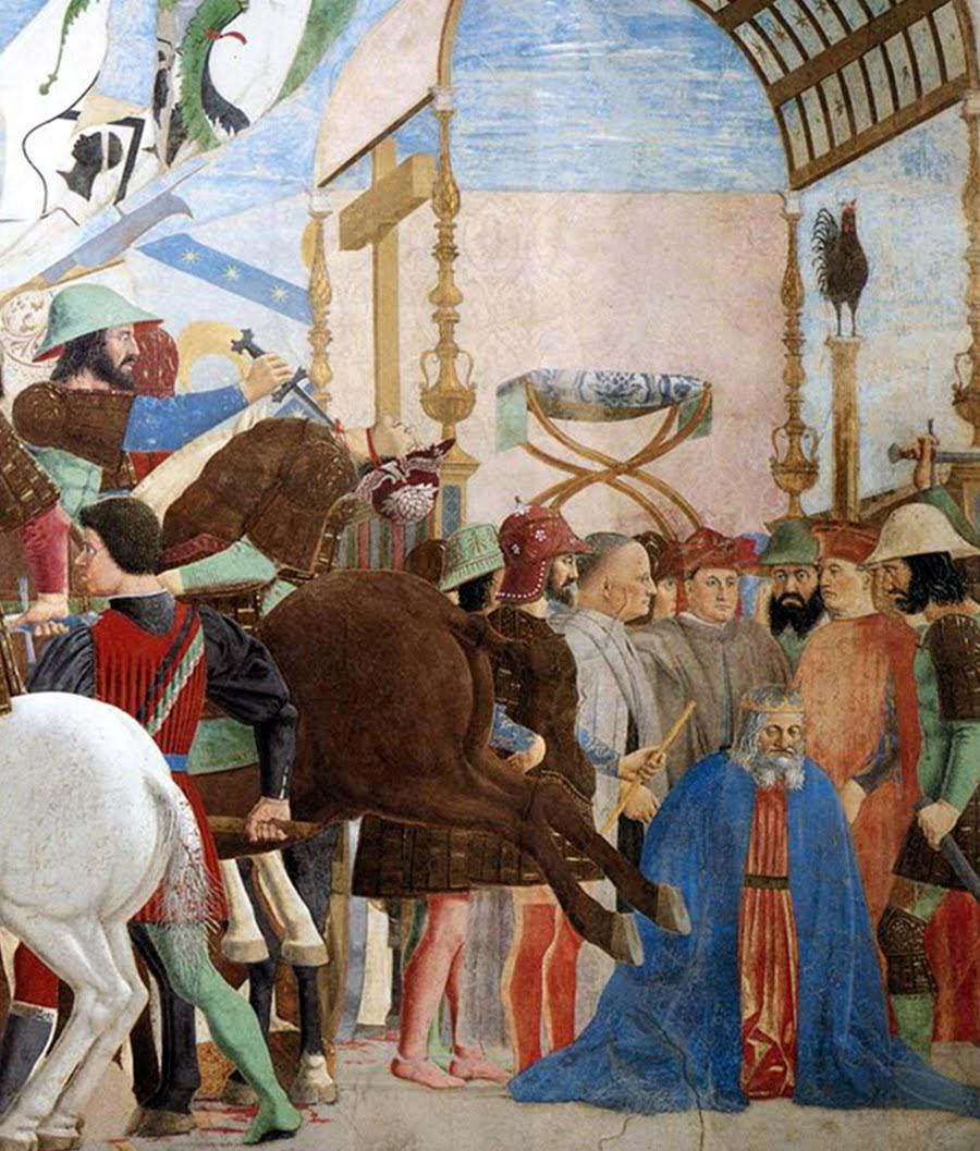 Piero della Francesca, Storie della Vera Croce, basilica di San Francesco, Arezzo [Battaglia di Eraclio e Cosroè, l'esecuzione dello sconfitto Cosroe)