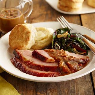 Molasses-Glazed Ham with Bacon Red-Eye Gravy.