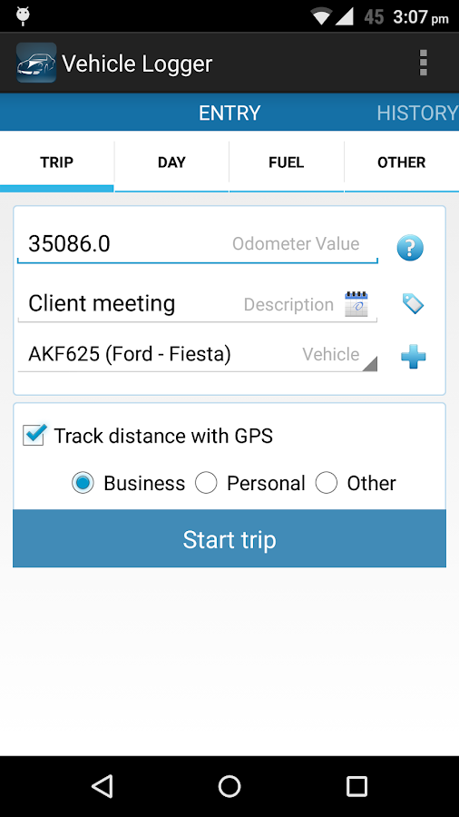 Vehicle Logger | Log Book - screenshot