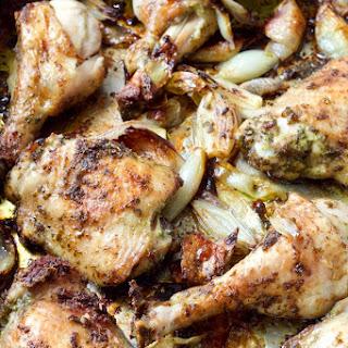 Roast Chicken with Wild Garlic Pesto & Shallots.