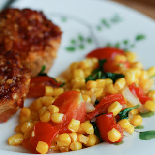 Corn, Tomato and Basil Saute.