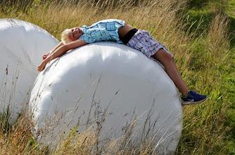Photo: Evening walk and Johan on a hayball.