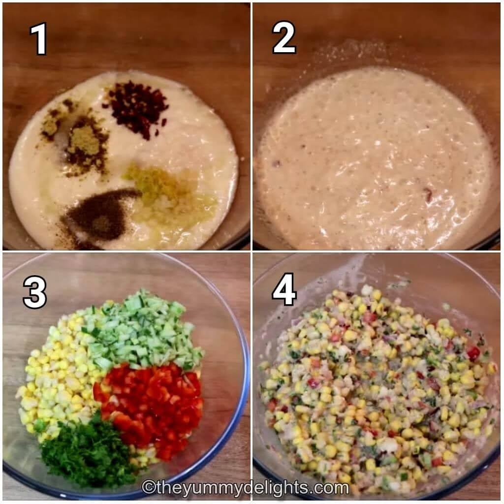 step by step image collage of making the corn salad with greek yogurt dressing