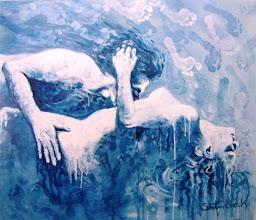"""Photo: """"Os Beduínos"""". Acrílica/duratex, 121,5 x 136,5 cm, 1998, Mossoró, Rio Grande do Norte, Brasil. Coleção: Isaura Amélia Rosado."""