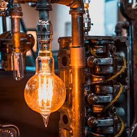 Industrial Lighting by Darrell Evans - Artistic Objects Other Objects ( lightbulb, electrical, metal, glass, power, sphere, shine, pipes, illumination, filament, light )