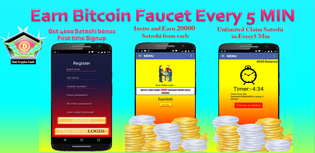 free bitcoins every 5 minutes
