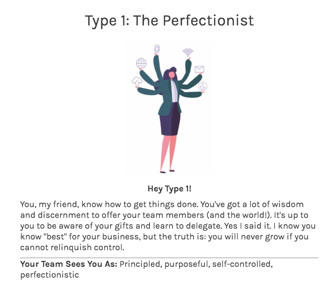 quiz results for type 1 on enneagram quiz