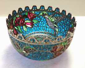 Photo: Plique-à-Jour Enamels by Diane Echnoz Almeyda - Hummingbirds Vessel (Bowl Form) - Fine Silver, Plique-à-Jour Enamels - Approximate size 42mm (h) x 69mm (diam) - $5200.00 US