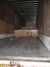 Photo: Luckily, the 50 stove size boxes and 8 coffins didn't nearly fill the semi truck!