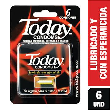 //Condón TODAY   Preservativo Lubricado y con Espermicida x6Und.