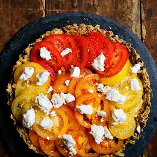 Fresh Tomato Tart with Olive Oil Kalamata Crust