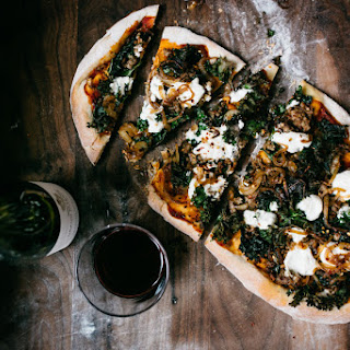 Kale, Ricotta, and Caramelized Onion Pizza