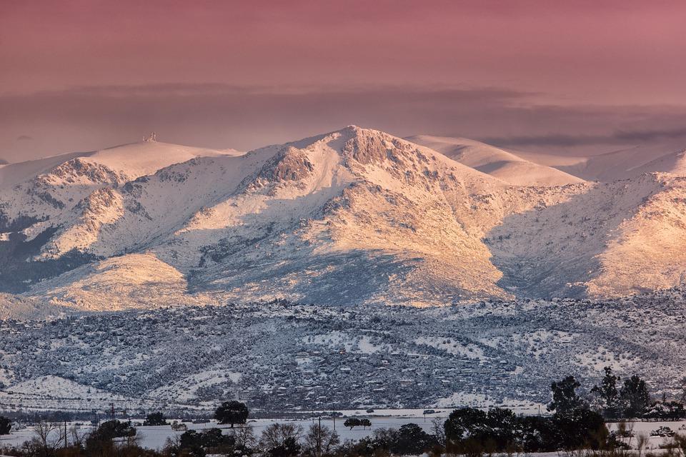Montaña, Snow, Salida Del Sol, Naturaleza, Madrid