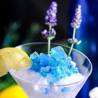 Lavender Lemon Gin and Tonic Granita Cocktail.