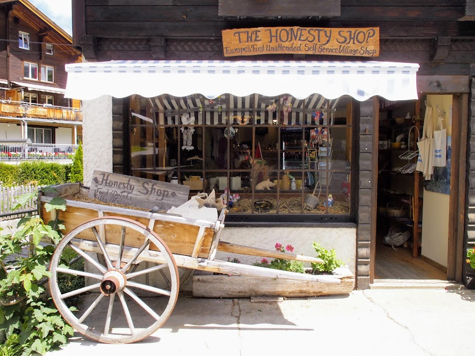 The Honesty Shop, honor-system store. Just put the money in a box by the door as you leave with your purchase.