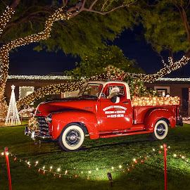Winterhaven by Dawn Hoehn Hagler - Public Holidays Christmas ( tucson, winterhaven, red truck, arizona, truck, christmas lights, christmas,  )