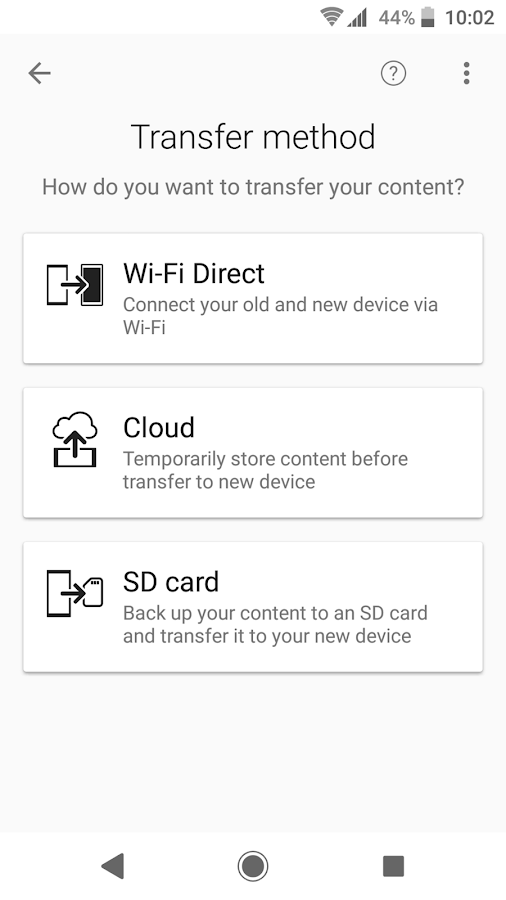 Xperia™ Transfer Mobile- screenshot