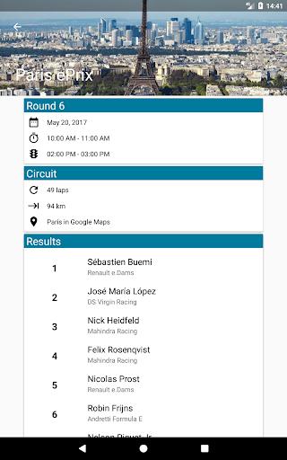 Formula E Calendar Screenshot