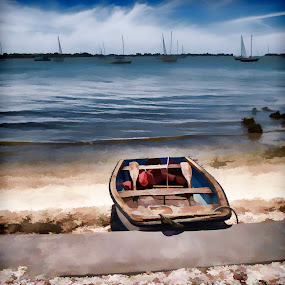 Painted Boat by Jackie Sleter - Digital Art Things ( painted, park, bay, boats, sail )