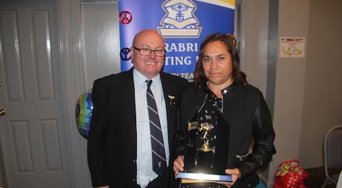 Senior sportsperson winner Angie Knox, presented by Narrabri RSL Club president Bruce O'Hara.